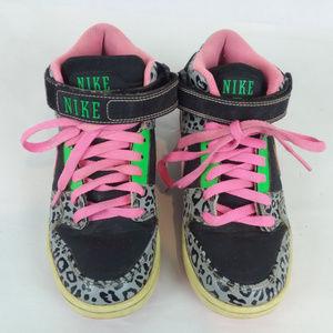 NIKE High Top Sneakers Snow Leopard Print Neon